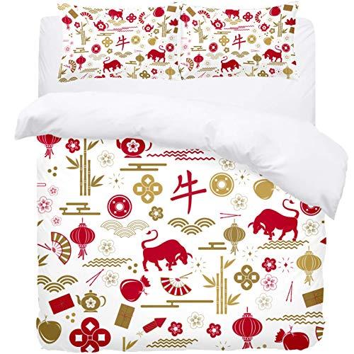 TIZORAX Juego de funda de edredón de cama Queen – Chino traducción Bull Bamboo Fan 3 piezas de microfibra edredón juego de funda de edredón y 2 fundas de almohada para hombres y mujeres