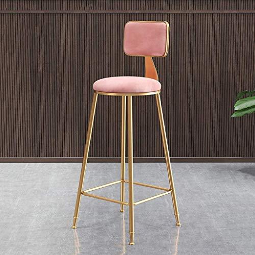 Chaise de Bar Nordique Petit déjeuner créative Table à Manger Tabouret Or Fer forgé Métal Rétro Suede Haute Tabouret Simplicité Moderne Postmodern, Rose