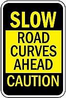 幻想的な取り引き緩やかな道路のカーブが先の注意アルミニウム金属看板