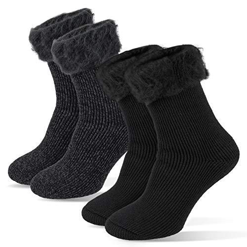 Tarjane 2 Paar Herren Thermo Socken Winterstrümpfe extra warm TOG 2.3 41/46 - Anthrazit/Schwarz
