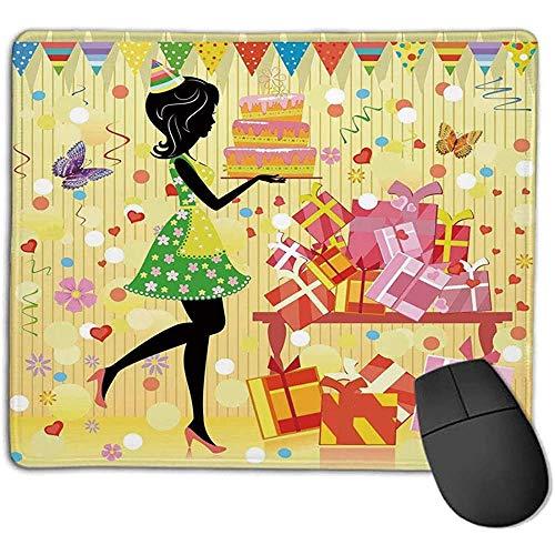 Muis Pad Verjaardag Decoraties Mooie Jonge Vrouw Verjaardag Taart Tafel vol geschenken Vlinder e