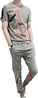 Mogogo Men's Slim Fitted Active Casual 2 Piece Set Short-Sleeve Joggers Set