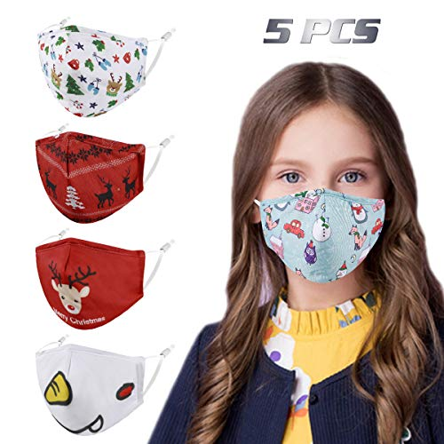 Christmas Kids Face Mask Washable Reusable, Cute Designer Breathable Cloth Cotton Madks Facemask mascarillas Girl Boy Children Toddler Gift, Fabric Covering with Adjustable Ear Loops for Protection