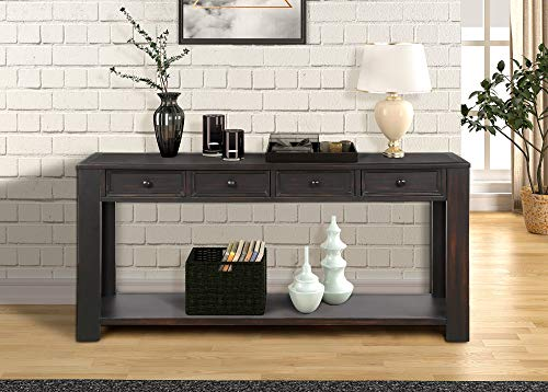 64 inch Long Hallway Table,JULYFOX Console Table with 4 Drawers 1 Shelf 30 inch High Solid Wood Construction for Entryway Hallway Living Room and Office Rustic Black