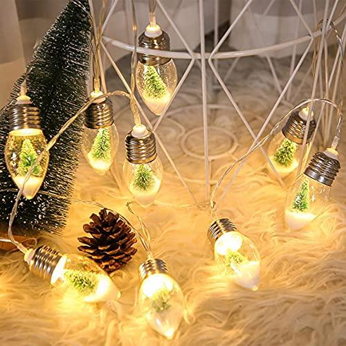 JYCAR Guirnalda de luces de Navidad con 10 bombillas LED de 2 m, funciona con pilas, luces de árbol de Navidad, para Navidad, bodas, fiestas, decoración interior y hogar