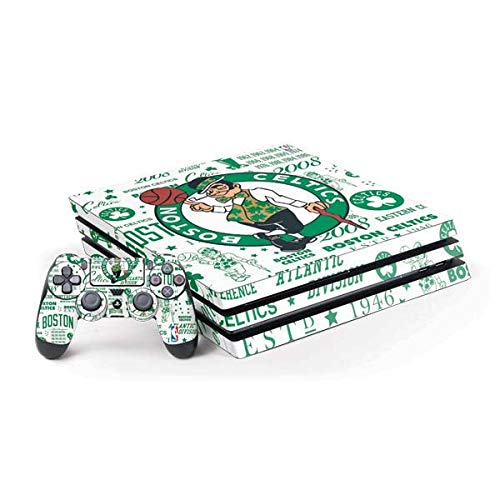 Skinit Decal Gaming Skin Compatible with PS4 Pro Console and Controller Bundle - Officially Licensed NBA Boston Celtics Historic Blast Design