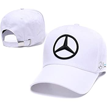 Enseng Car Logo Adjustable Baseball Hat, Unisex Hat Travel Cap Car Racing Motor Cap for Benz (White)