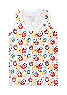 Skills Round-Neck Patterned Tank Top for Kids - Multi Color, 0-3 Months