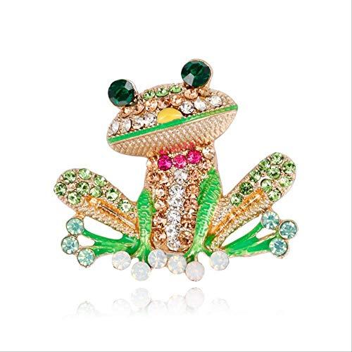 NO BRANDBroche de Rana de Diamantes de imitación de Dibujos Animados de Moda para Mujeres Alfileres de Broche Accesorios de joyería 3.7x4.1cm Verde