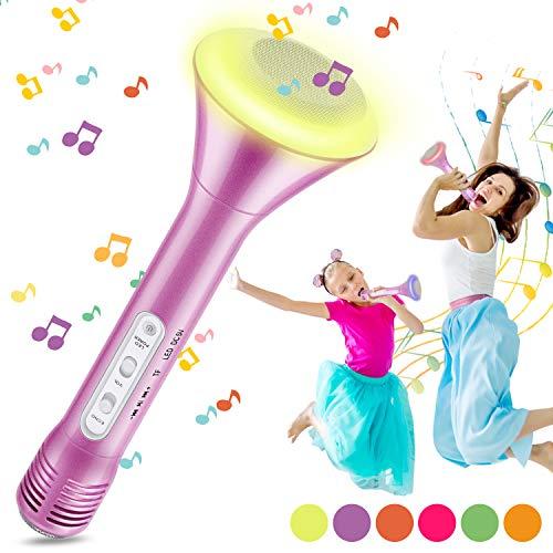 Micrófono Karaoke Bluetooth, Magicfun Microfono Inalámbrico Karaoke con Altavoces Bluetooth Altavoz Función de Eco Compatible con Android/iOS para Niños Regalo (Rosa)