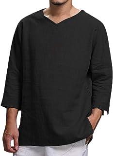 VPASS Hombre Camisetas, Camiseta para Hombre,Verano Algodón y Lino Manga Corta Color sólido Moda Casual Suelto T-Shirt Blusas Camisas Camiseta Cuello en v Suave básica Camiseta Top vpass