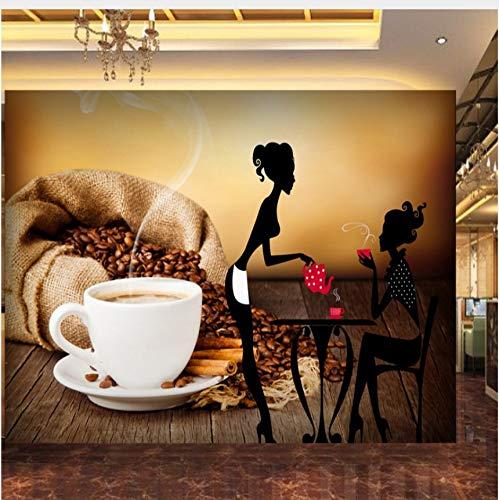 Rureng Benutzerdefinierte Fototapete Coffee Shop Schönheit Silhouette Tasse Tooling Hintergrund Wand Papier Lounge Hd Benutzerdefinierte Wandbild-400X280Cm