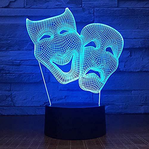 XLLJA Tischlampe Nachtlichter,Nachtlicht komödie Maske Schlafzimmer Dekoration Bunte nachtlicht Touch Fernbedienung Geschenk led 3D Lampe Freunde Geschenk