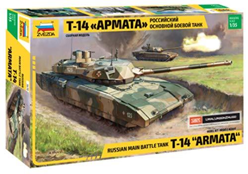 Zvezda 500783670 500783670-1:35 T-14 Armata Russ. Main Battle Tank - Juego de construcción de maqueta de Tanque de plástico para Principiantes, diseño de Camuflaje