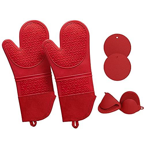 Dracod Manopla de horno, guantes de horno, resistentes al calor y 2 agarradores de silicona, con 2 manoplas de horno, guantes de silicona resistentes al calor, para cocina, hornear, barbacoa