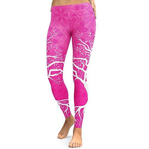 JUSTSELL ?Leggings per Fitness da Donna Yoga Esecuzione da Palestra Pantaloni Sportivi a Vita Alta Pantaloni da Uomo Leggings con Stampa Albero Che es