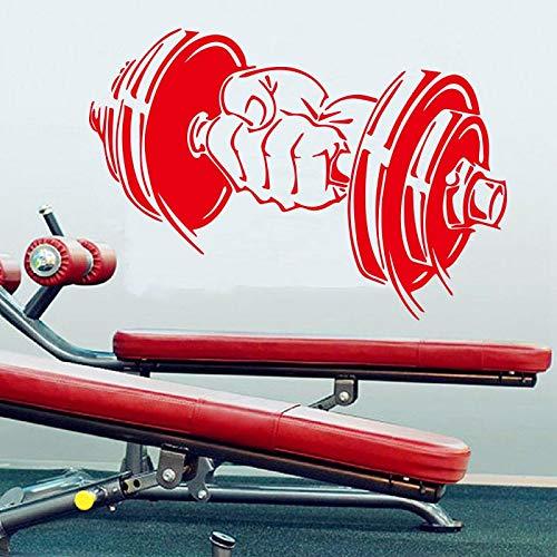 Ejercicio de fitness icono de mancuernas etiqueta de la pared sala de estar gimnasio etiqueta de la pared pintura decorativa etiqueta extraíble A5 81x57cm