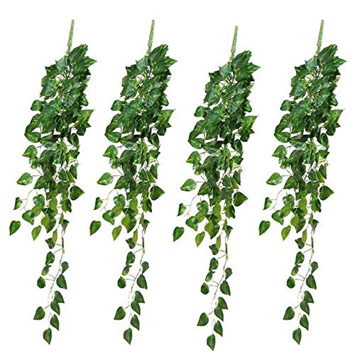 Fake Vines Artificial Ivy Garland Plants 4 Pcs 2.9 Ft Artificial Hanging Greenery Leaves Vines for Room Decor Home Wall Outdoor Garden Fence Wedding Arch Decorations Scindapsus Leaves-4 PCS