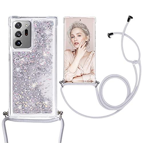 Croazhi Note 20 Ultra Handyhülle Kompatibel mit Samsung Galaxy Note 20 Ultra 5G Hülle Hülle Cover Silikon Transparent Glitzer Treibsand Handykette mit Band 360 Grad Bumper Original Handy Tasche