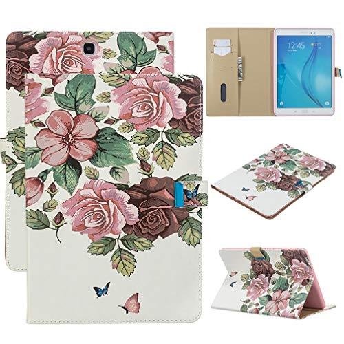 LMFULM® Hülle für Samsung Galaxy Tab A/SM-T550 / T555 (9,7 Zoll) PU Lederhülle Smart Case Ständer Schutzhülle Flip Cover Pinke Blume