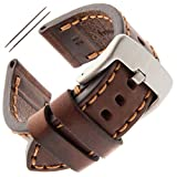 Gilden 20-26mm Gents Thick and Heavy Sport Calfskin Leather Watch Strap TS62-1524 (24 Millimeter end Width, Brown, Stainless Steel Buckle)