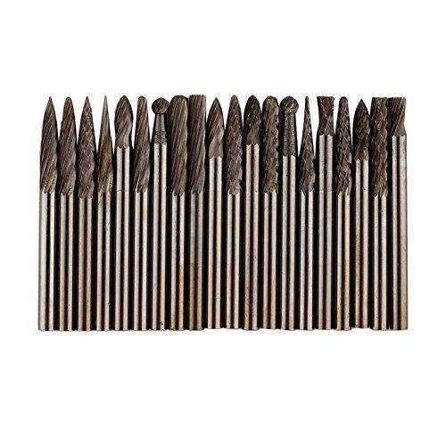 Akozon Carbide Burr Set 20 stuks 1/8 inch (3 mm) Shank Karbide Wolfraam vijlen draaibaar conisch frees voor frezen boren knutselen houtwerk sculptuur metaal polijsten gravure