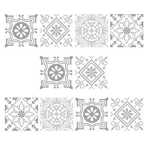 Garneck 10 Stks Europese Stijl Waterdichte Tegel Sticker Pvc Zelfklevende Muur Achtergrond Sticker Muurtattoo Voor Kantoor Thuis Badkamer Keuken (20X20 Cm)