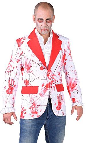 M218261-XS - Disfraz de zombi para hombre, color blanco y rojo, talla XS