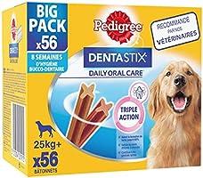 Pedigree Dentastix - Friandises pour grand chien, 56 bâtonnets à mâcher pour l'hygiène bucco-dentaire (8 sachets de 7...
