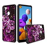 UNC Pro Cell Phone Case for Samsung Galaxy A21, Luxury Butterfly Gold Foil Embedded Dual Layer TPU Hybrid Case, Shockproof Bumper Protective Cover