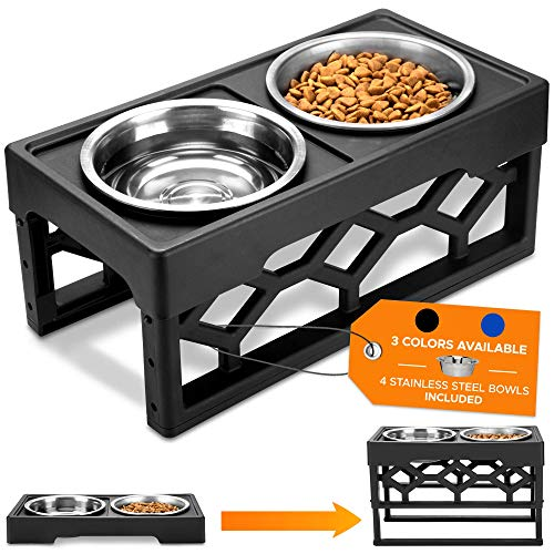 AveryDay Erhöhter Hundenapf mit 4 Edelstahl Schüssel, höhenverstellbar Futterstation, Wassernapf und Futternapf für große Hunde und Welpen inkl. Napfständer für Hundeschüssel im Bowl Set