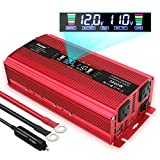 Yinleader Power Inverter 1500W/3000W(Peak) DC 12V to 110V AC Converter with Intelligent LCD Display Dual AC Outlets Dual USB...