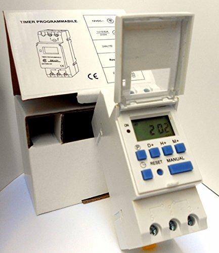 Timer digitale orologio programmabile 12V 12 Volt Guida DIN per caccia nautica solare Istruzioni ITALIANO