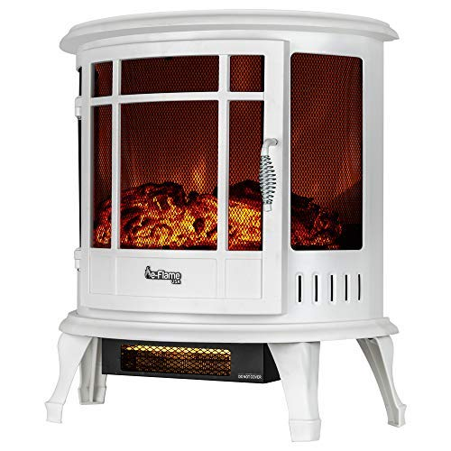 e-Flame USA Regal Freestanding Electric Fireplace Stove - 3-D Log and Fire Effect (White) Décor Dining electric Features Fireplaces Home Kitchen