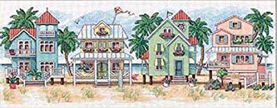 Dimensions 'Seaside Cottages' Counted Cross Stitch Kit, 14 Count White Aida, 18'' x 7''
