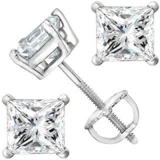 2 Carat Solitaire Diamond Stud Earrings Princess Cut 4 Prong Screw Back (I-J Color, I2 Clarity)