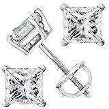 2 Carat Platinum Solitaire Diamond Stud Earrings Princess Cut 4 Prong Screw Back (I-J Color, I2 Clarity)