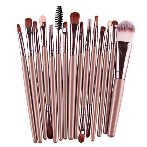 Cosanter 15 Pcs pinceaux de maquillage avec manche en tube plastique Pinceaux Maquillage Cosmétique Brush Beauté Maquillage Brosse Makeup Brushes Tous Types de Maquillage Marron A
