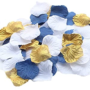ALLHEARTDESIRES 900 Pack Mixed Royal Blue Gold White Silk Wedding Flower Rose Party Centerpieces Wedding Confetti Table Scatters Christening Baby Boy Shower Decoration Favor