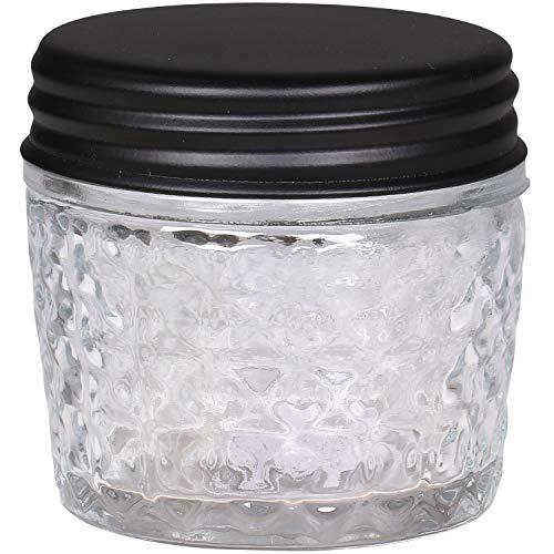 MACOSA CA61587-00 - Tarro de cristal redondo con tapa de metal, color negro