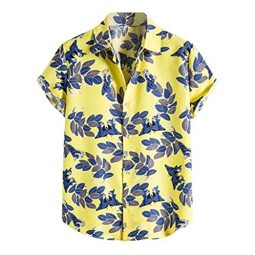 Xmiral Camicia Hawaiana Uomo Camicette estive Camicia Magliette t Shirt Uomo Camicie Maglietta Camicia Camicetta Uomo Colorato Estate Manica Corta Bottoni Allentati Casual Hawaiano (XXL,8Giallo)