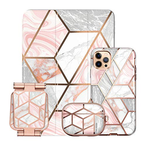 i-Blason Cosmo Pink Collection Bundle - iPhone 12 Pro Max 6.7', iPad 10.2', AirPods Pro Cosmo Case & Stand