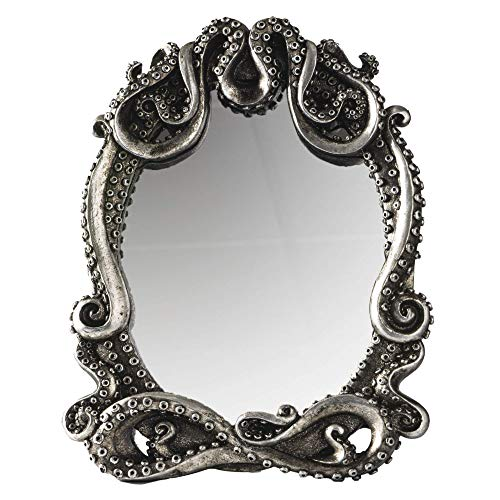 Gothic Mirror Home Accent Décor, Kraken Antique Inspired Silver Tone Hand Finished Framed Steampunk Tabletop Decoration, 7.28' L x 1' W x 9.25' H