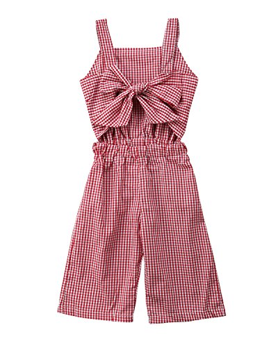 Kids Toddler Baby Girl Red Plaid Big Bow Sleeveless Romper Jumpsuit Trousers Clothes Outfits (Red, 4-5 Years)