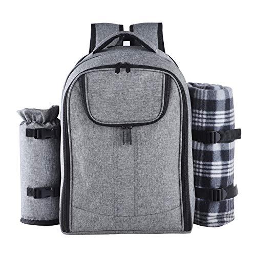 Dcolor Großer Picknick-Rucksack für 4 Personen mit Kühltasche, isolierter Korb für Flaschen und Decken