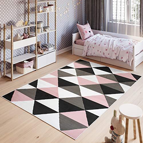 Tapiso Pinky Tapis de Chambre Enfant Bébé Ado Design Moderne Rose Gris Blanc Noir Géométrique Triangles Doux Fin 120 x 170 cm