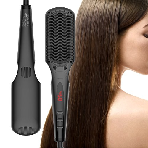 cepillo alisador de pelo, iFanze cepillo alisador de pelo ionico, cepillo alisador electrico, Pantalla LCD, Temperatura Ajustable, Plancha de cerámica con Guante Resistente