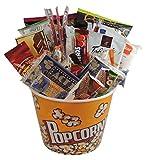 gift basket: snack attack, movie night, game night - large reusable popcorn bowl: munchies,