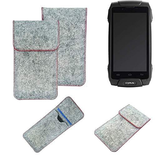 K-S-Trade® Handy Schutz Hülle Für Cyrus CS 30 Schutzhülle Handyhülle Filztasche Pouch Tasche Hülle Sleeve Filzhülle Hellgrau Roter Rand