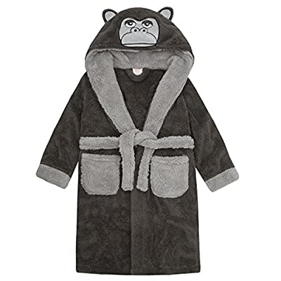 Childrens / Boys Gorilla Snuggle Fleece Hooded Dressing Gown ~ 7-13 Years